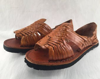WOMENS LEATHER HUARACHE Sandals made in mexico with tire sole *all sizes