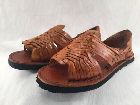 Womens Leather Huarache Sandals Made In Mexico With Tire Sole