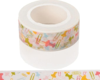 Paper Clips Washi Tape - Push Pins Washi Tape - Masking Tape - Planner Washi Tape - Washi Tape UK - Pastel Washi Tape - Planner Stickers
