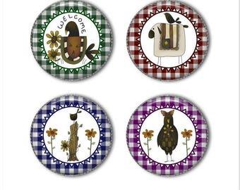 Primitive magnets or primitive pins, primitive decor, refrigerator magnets, fridge magnets, office magnets