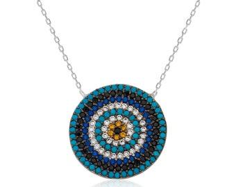 Ms. Silver Evil Eye Bead Necklace - IJ1-1798