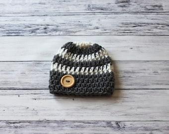 Crochet Baby Hat, Striped Boy Hat, Baby Boy Hat, Baby Boy Hat Crochet, Crochet Newborn Hat, Newborn Hat for Boy, Boy Newborn Photo