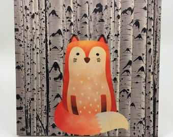 Woodland Fox Wall Art, Cabin or Nursery Decor, Colorful Graphic Art print on wood, Wood Wall Art