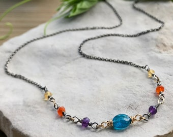 Handmade Colorful Necklace, Sterling Silver Beaded Apatite Necklace with carnelian, citrine & amethyst gemstones