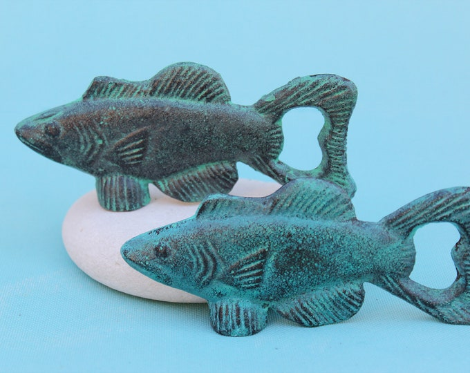 Sale 25% offCast Iron Fish Bottle Opener Blue Beach Decor