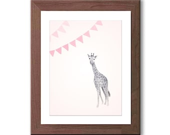 Baby Giraffe Nursery Art - Watercolor Giraffe Print - Giraffe Nursery Decor - Pink and Gray Nursery Art - Baby Girl Nursery Art - G130