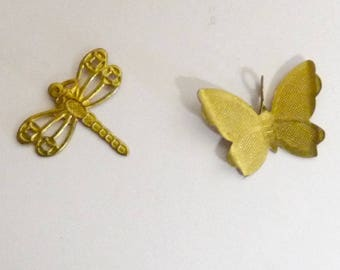 Golden Dragonfly pendants decorative element for collage jewelry making and Butterfly