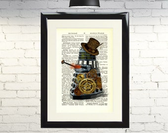 Dictionary Art Print Steampunk Dalek Dr Who Framed Vintage Poster Picture Handmade Original Artwork Book Page Home Decor
