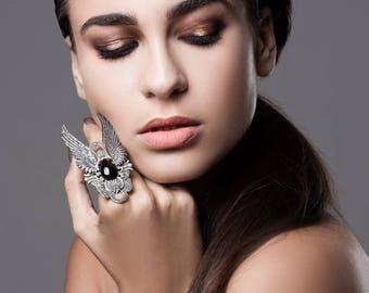 Αrmor ring Mens Gothic Ring Angel Wings ring Goth Jewelry Full finger ring Black Onyx Ring Womens Unisex Ring Rocker statement