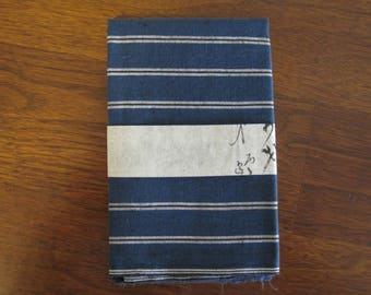 Vintage unused Japanese indigo stripe cotton fabric