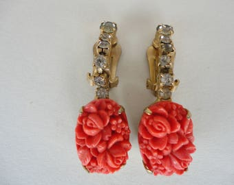Faux Coral Dangle Earrings