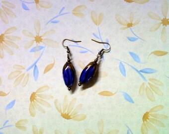 Blue Ceramic Flower Bud Earrings (2268)