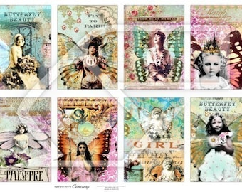 ATC-ACEO  Women, Butterflies and Children Altered Art Digital Collage Print Sheet no125