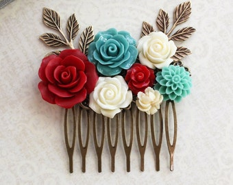 Floral Bridal Comb Teal and Red Rose Hairpiece Boho Chic Wedding Branch Comb Ivory Cream Floral Hair Accessories Romantic Colorful Bridal
