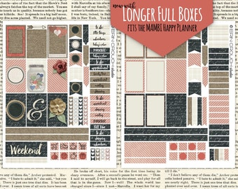 Improved Design!  Rustic Chalkboard Burlap Planner Stickers MAMBI Happy Planner Printable Stickers Instant Download 2 Matching JPEG Files