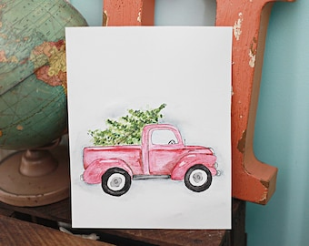 Christmas Watercolor Painting Vintage red Truck Tree