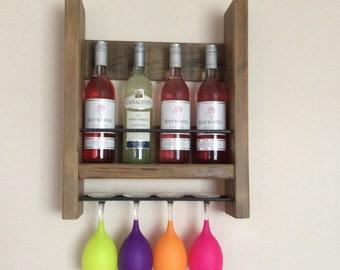 Wine Rack - Wooden Wine Rack - Rustic Decor - Kitchen Storage, Wedding Gift - Wine Holder -Wine Glass Holder - Wine Bottle and Glass Holder