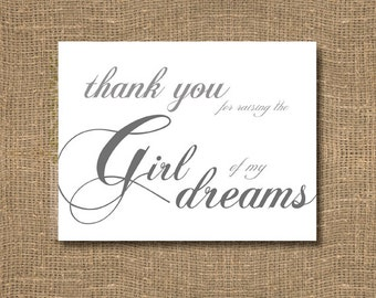 Thank You For Raising The Girl of My Dreams - Grooms Wedding Sentiments, Wedding Notecard, Wedding Sentiments Note, Grooms Wedding Note Card