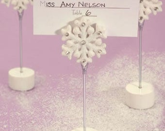 White Snowflake Winter Wedding Place Card Holders (Pack of 25) Wedding Reception Supplies