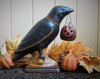 CROW WITH PUMPKIN - Primitive Paper Mache Folk Art Halloween Decoration