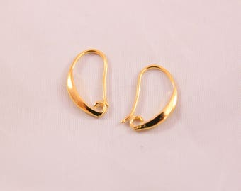 support earring gold Fishhook earwires, 19 * 13 mm, 3 pairs