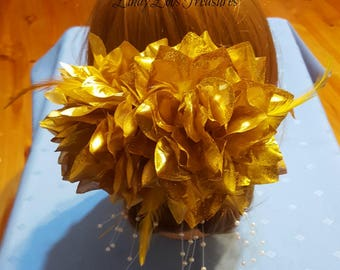Gold Flower Fascinator, Decorative Hair Clip, Gold Flower Hair Clip, Romantic Hair Piece, Bridal Headpiece, Bridal Hair Piece