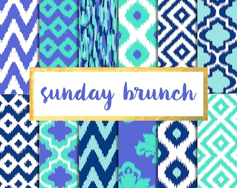 Buy 2 get 1 free with code SPRINGBREAK Sunday Brunch Ikat Digital Paper Pack (Instant Download)