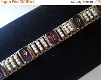 ON SALE Rhinestone Bracelet, High End Vintage Intaglio Jewelry, 1950s 1960s Faux Pearl Old Hollywood Glamour, Holiday Gift Idea For Her