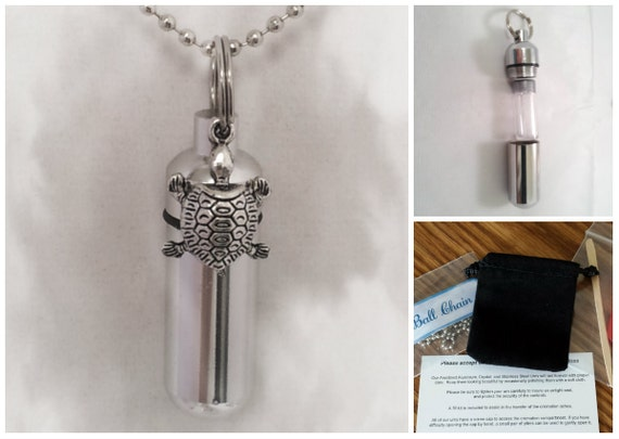 "Complete Set - Silver Turtle Cremation Urn on 24"" Necklace  - Custom Hand Assembled.... with Velvet Pouch and Fill Kit"