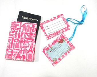 Handmade Passport cover with two matching luggage tags - Vacations words in pink - Ready to ship - Travel gift ideas for her - birthday gift