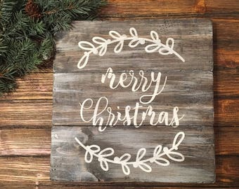 Merry Christmas Laurel Holiday Distressed Wood Wall Sign