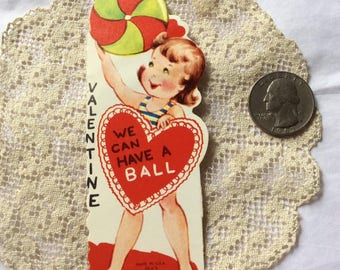 Vintage 1960s 1970s Valentine Card Little Girl With Beach Ball Collectible Paper Ephemera Art Crafts Scrap Booking