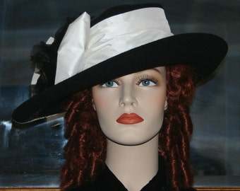 Women's Kentucky Derby Hat Ascot Edwardian Tea Hat Titanic Hat Somewhere in Time Hat Downton Abbey Hat Black and White - Lady Olivia