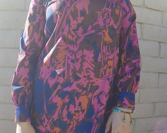 Vintage 70s Style Navy blue with Pink Dress