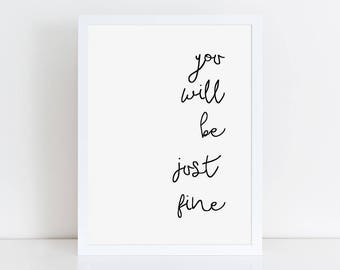Printable positive quote poster, digital art, instant download divorce gift, digital wall art, instant print, black and white art download