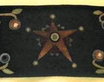 Cotton and Wool Applique - Rustic Star Applique Runner