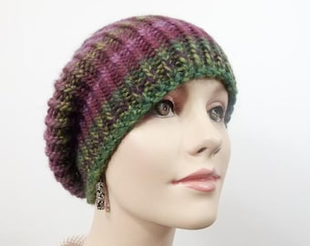 Warm Hand Knit Chunky Hat  -  Slouchy Hat Striped in Plums and Greens - Size Adult Sm/Med  - Item 1282