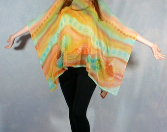 Hand Painted Silk Chiffon Poncho Coverup with Cotton Camisole in Apricot, Turquoise and Gold