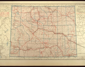 Wyoming Map LARGE Wyoming Road Map Highway Wall Art Decor
