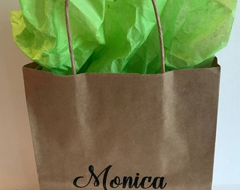 FREE SHIPPING!!! Personalized, Wedding, Birthday, Special Occasion Kraft Gift Bag with Handles
