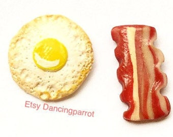 Bacon and eggs stud earrings Food jewelry Food earrings Bacon breakfast earrings Cute gift for women Handmade Bacon lover gift Novelty gift