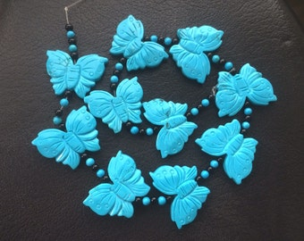 10 Carved Two Sided Howlite Butterfly Beads – 25 x 32MM