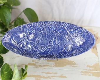 Handmade Nautical Pottery Tray/Blue Beachy Tray/Pottery Textured Tray/Pottery Serving Dish/Stoneware Tray/Nautical Dish/Catchall Remote Tray