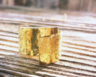 Hammer Textured Brass Wrap Wide Band Ring