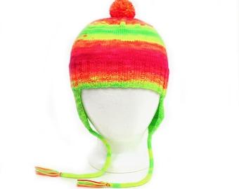 Neon Rainbow Aviator Hat. Fluorescent Earflap Hat. 2 to 6 Years. Gender Neutral. Warm Wool Knit Ear Warmer Cap
