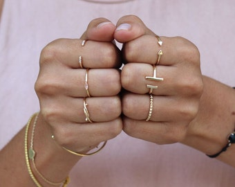 Open bar ring - Dainty ring - Bar ring - Gold plated silver ring - Gold ring  - Minimal jewelry - stacking ring - open ring
