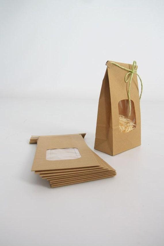 Kraft Tin Tie Bags - Set of 10 w/ window - Coffee Bags, Treat Bags, Window Bags, Wedding Favor Bags, Cookie Bags, Product Packaging