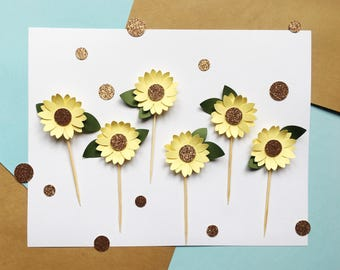 Sunflower Cupcake Toppers | Flower Cupcake Toppers | Spring Decorations | Floral Decor | Sun Flower Glitter Cupcake Topper
