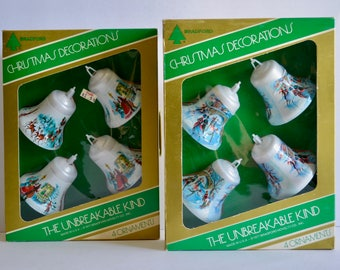Vintage 1970's Christmas Bradford Novelty Unbreakable Kind Boxed Bell Shaped Ornaments Ice Skaters, Carolers & Santa With Sleigh Two Boxes