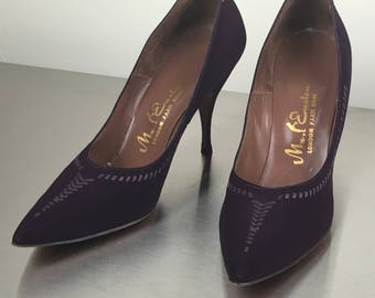 Vintage 1960s Plum Mad Men Stiletto Heels With Lacing Details sz 9